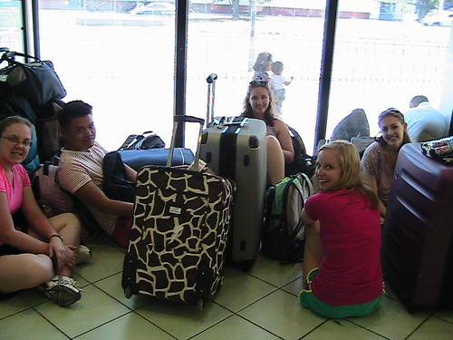 Awaiting the bus journey to Talca, Chile