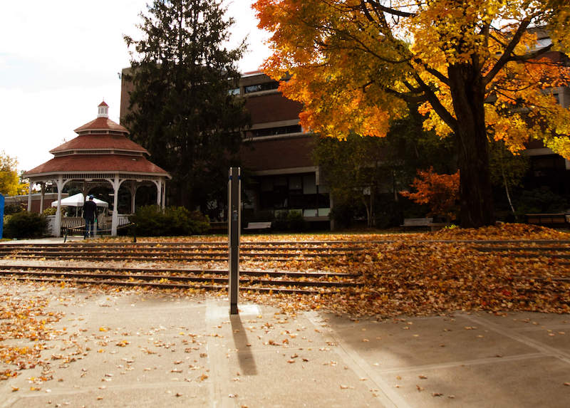 the gazebo on South campus in fall