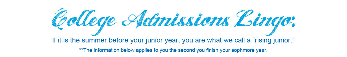 college admissions lingo: rising junior