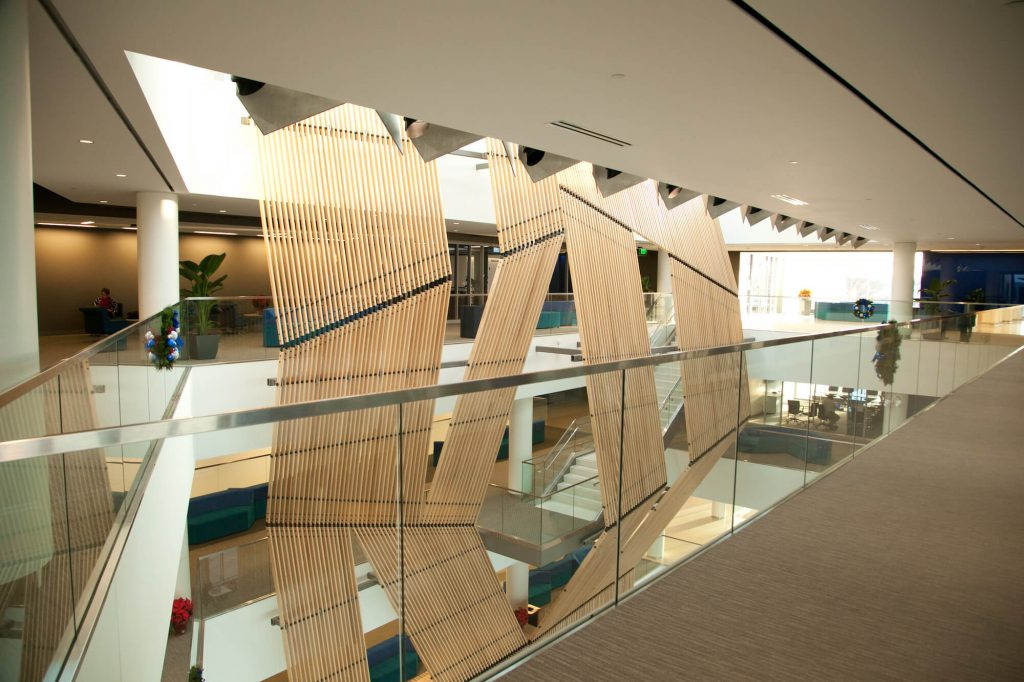 light reflectors spread natural light into university crossing sustainable energy