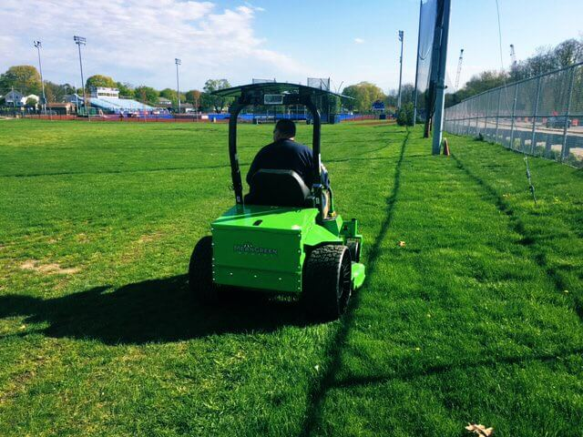 this commercial-grade electric lawn mower was purchased with help from the seed fund