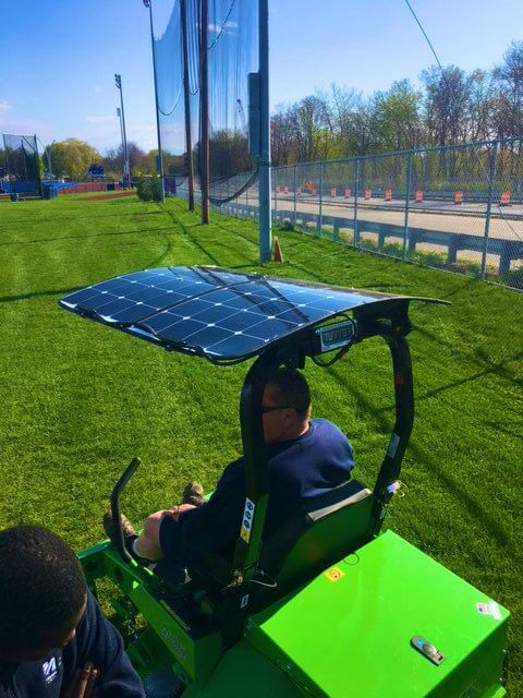electric lawn mower with solar panels