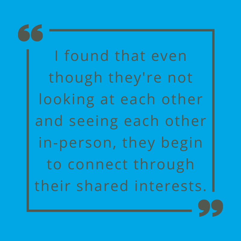 I found that even though they're not looking at each other and seeing each other in-person, they begin to connect through their shared interests. Prof. Mitchel on building a community.