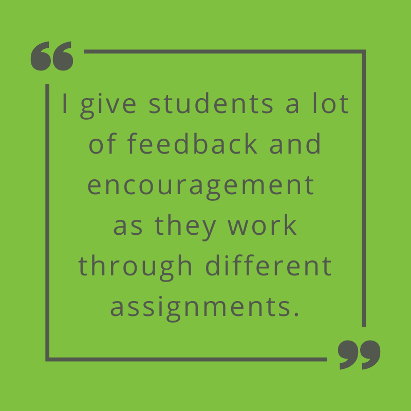 I give students a lot of feedback and encouragement as they work through different assignments. Prof. Mitchell on engaging students in online learning.