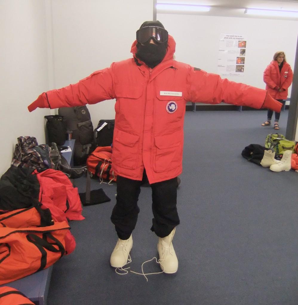 Rachel Valletta in full cold weather gear