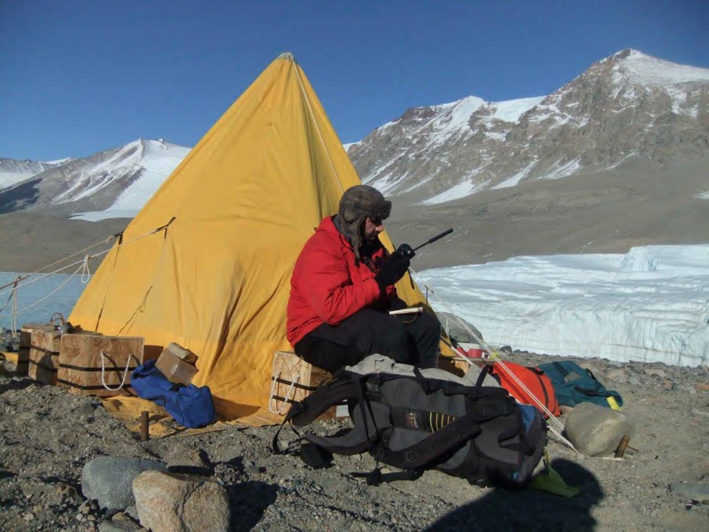 Jay checking in after we set up camp, in front of Taylor Glacier.