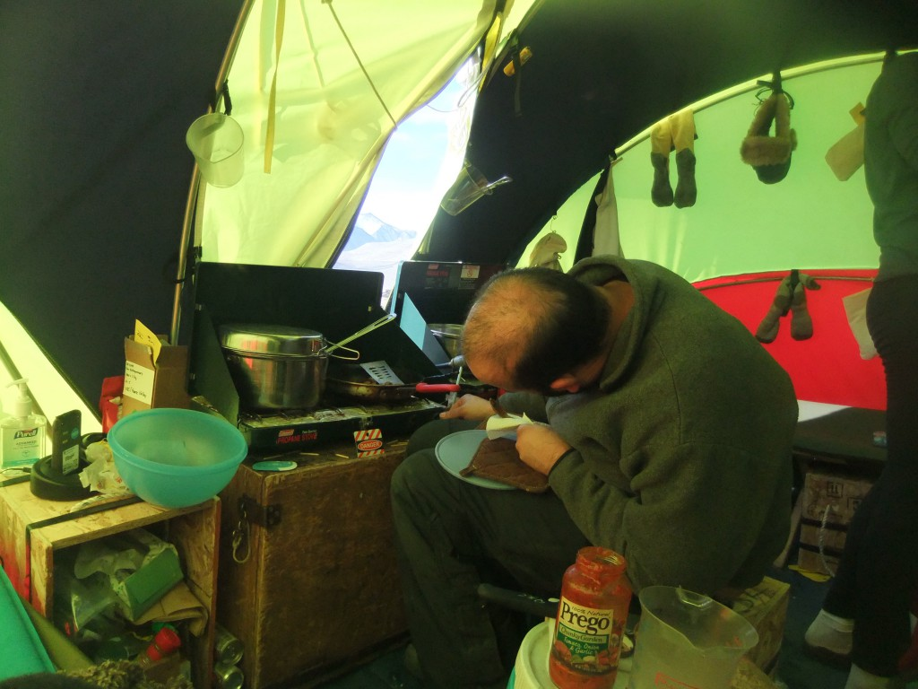Jay doing some cooking in the Endurance tent.