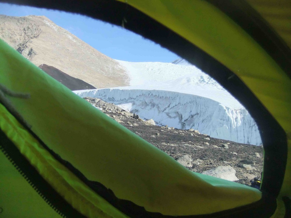 View of Sollas from out tent door.