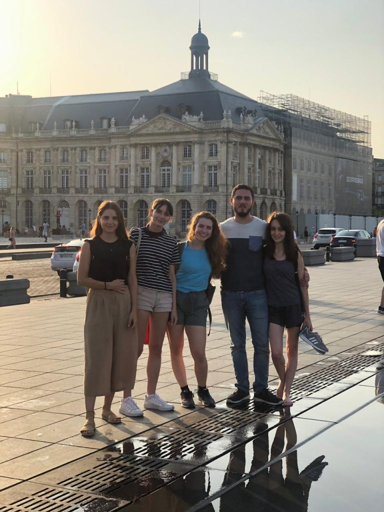 Xiomara Matathias poses with other students in the city center in Bordeaux
