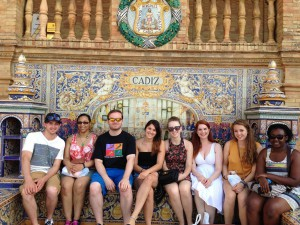 UMass Lowell students pose for a group photo on a previous trip to Cadiz, Spain.