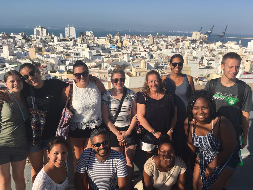 A group photo of UMass Lowell students and faculty in Cadiz from a previous Study Abroad trip in 2016.