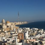 The view of the Cadiz coastline from the Torre Tavira. The Torre Tavira is from the eighteenth century, situated in the down town and the highest point of the city, turned today into a focal point of cultural interest.