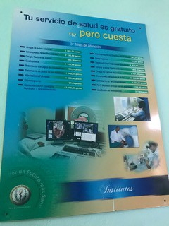 A poster listing the prices of procedures that the government pays for if a citizen needs it.