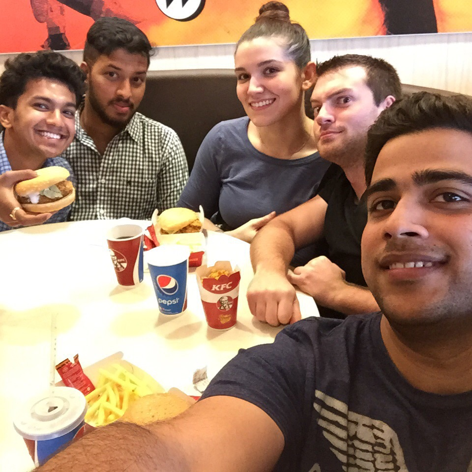 This picture was taken at a KFC in the local mall. Experiencing an American food chain in a foreign country was definitely interesting. The only other American chain we have encountered in Hubli is Domino's Pizza.