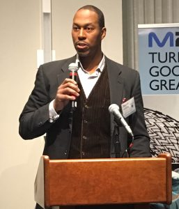 Travis McCready, President/CEO of Massachusetts Life Sciences Center, gave the keynote address at the M2D2 $200K Challenge Award Ceremony.
