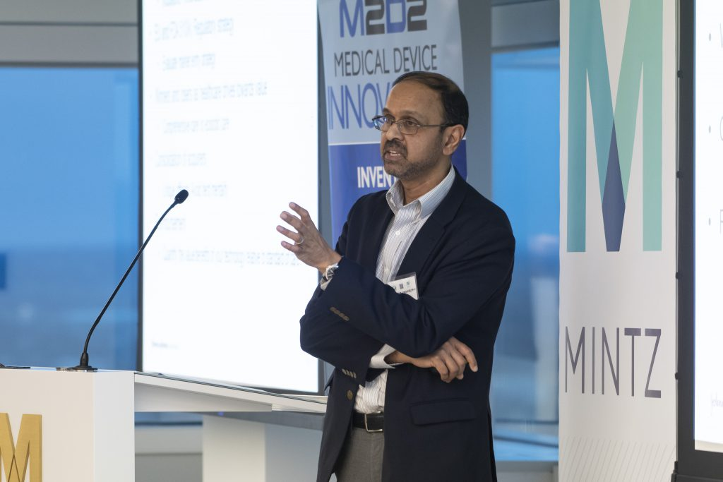 Kadir Kadhiresan of Johnson & Johnson Innovation gives keynote remarks at the 2019 M2D2 $200K Challenge Award Celebration.