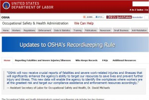 snip of OSHA rules web page