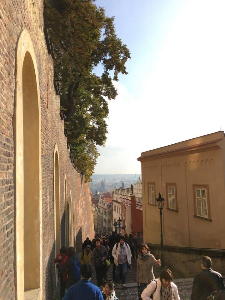 The view while walking up to Prague Castle.