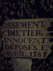 One of the first cemeteries (Les Innocents) where the bones removed and transferred to Les Catacombes.