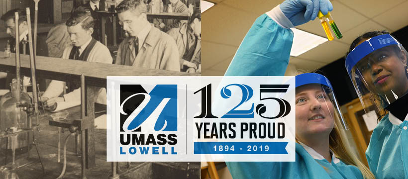 UMass Lowell researchers in a laboratory in 1894 vs. 2019